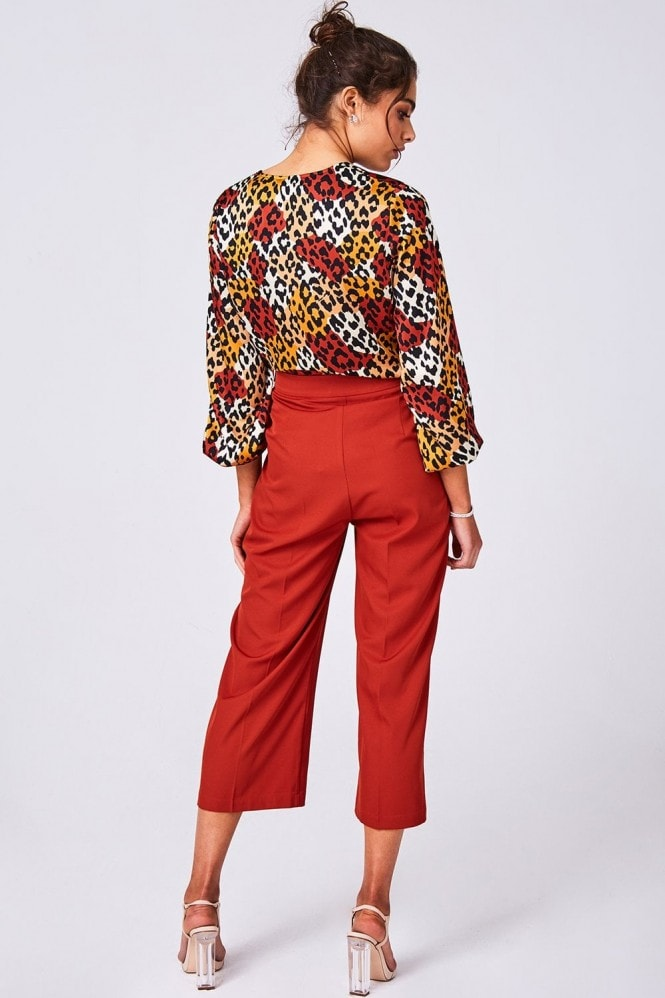 Girls on Film Lavish Orange Leopard-Print Satin Buckle Detail Blouse