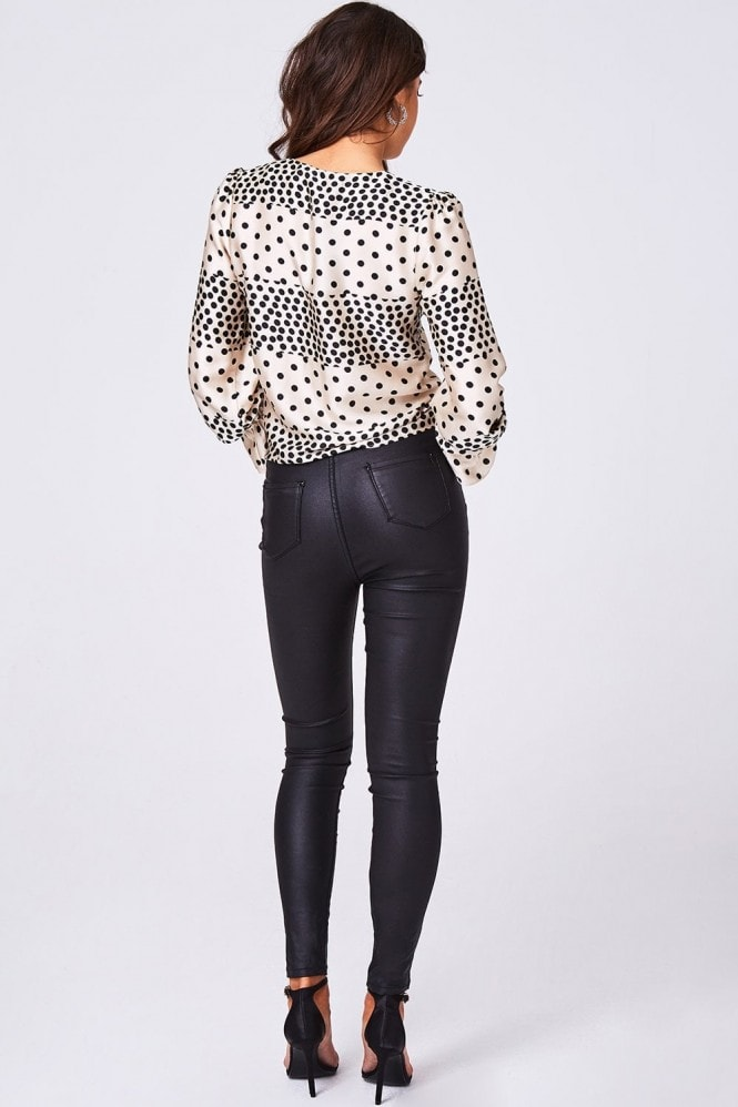 Girls on Film Element Cream Polka-Dot Satin Ruched Blouse