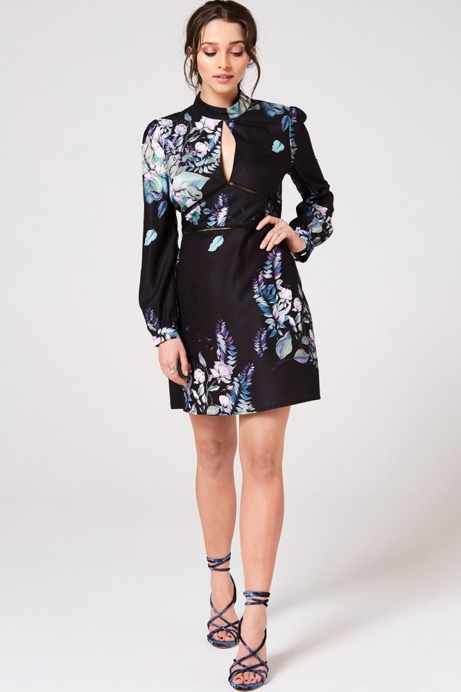 Little Mistress Roxby Black Floral Long-Sleeve Mini Shift Dress