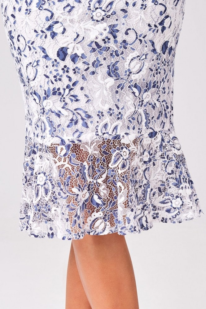 Girls on Film Triumph White And Navy Two-Tone Lace Bodycon Midi Dress
