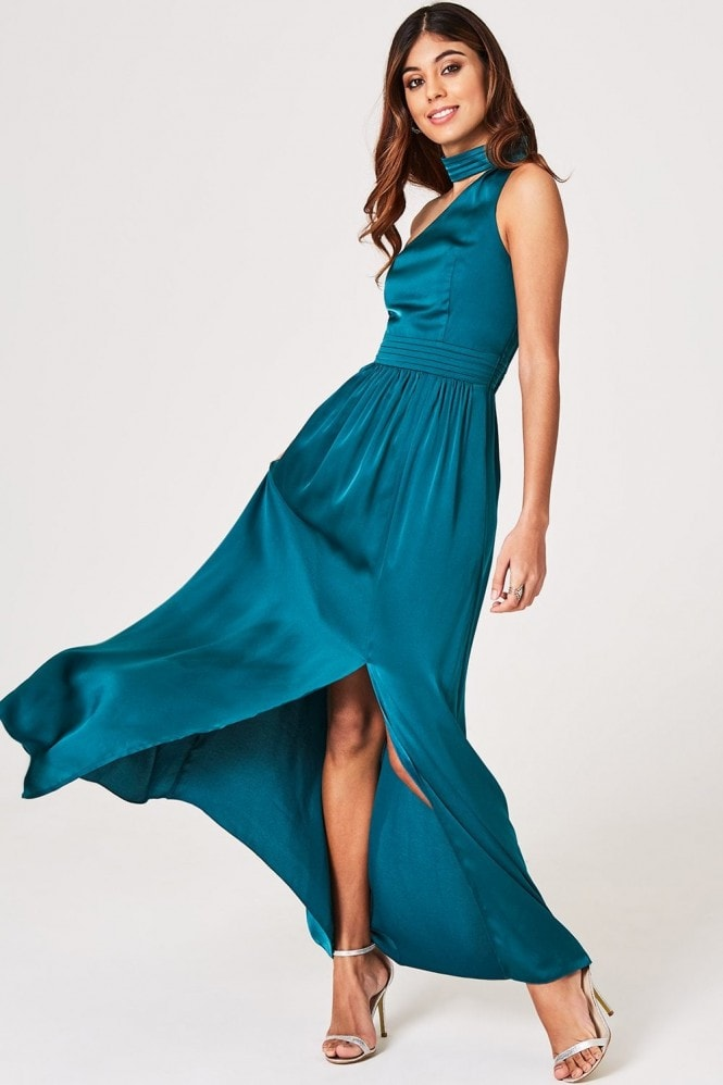 Little Mistress Anja Kingfisher Asymmetric Halter Maxi Dress