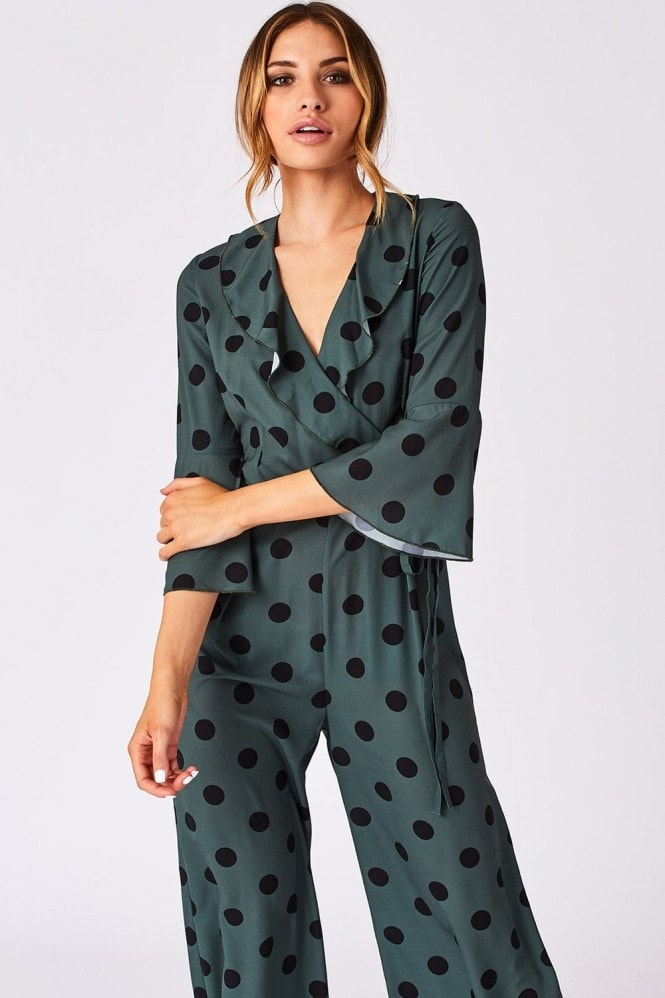 Girls on Film Rubix Green Polka-Dot Wrap Jumpsuit