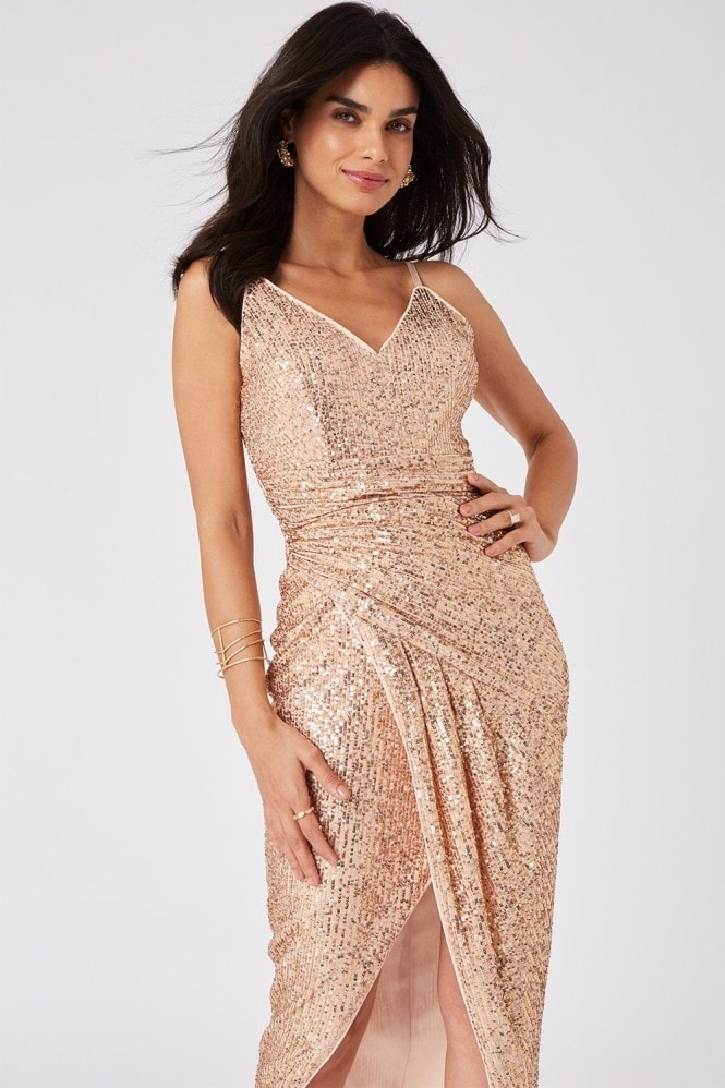 Girls on Film Prestige Copper Sequin Wrap Maxi Dress