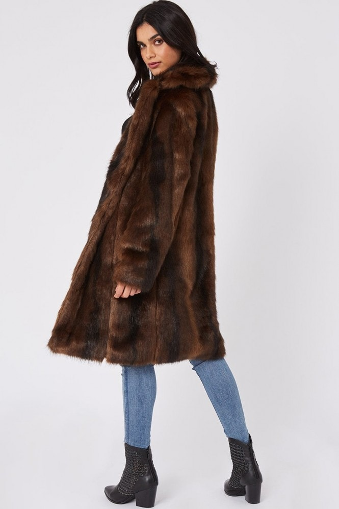 Little Mistress Forge Brown Faux-Fur Coat