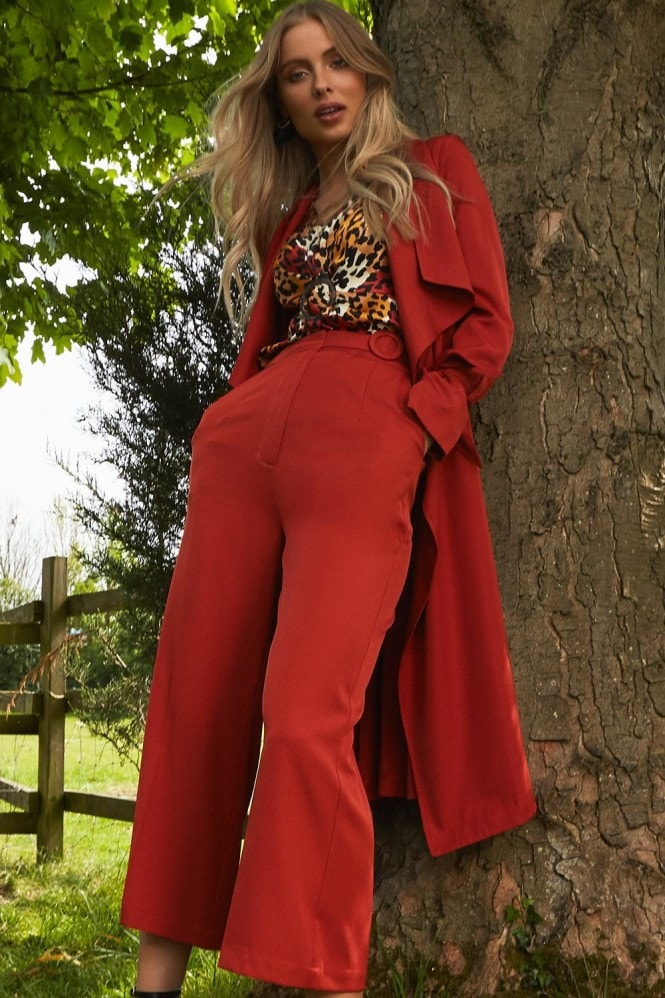 Girls on Film Modus Rust Buckle Detail Wide-Leg Trousers