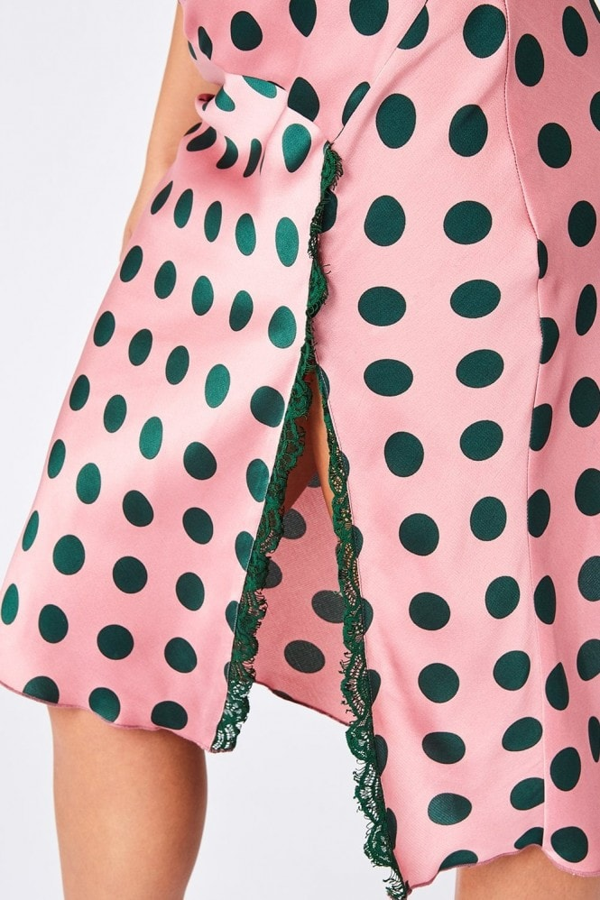 Girls on Film Amaris Pink And Green Polka-Dot Satin Midi Dress