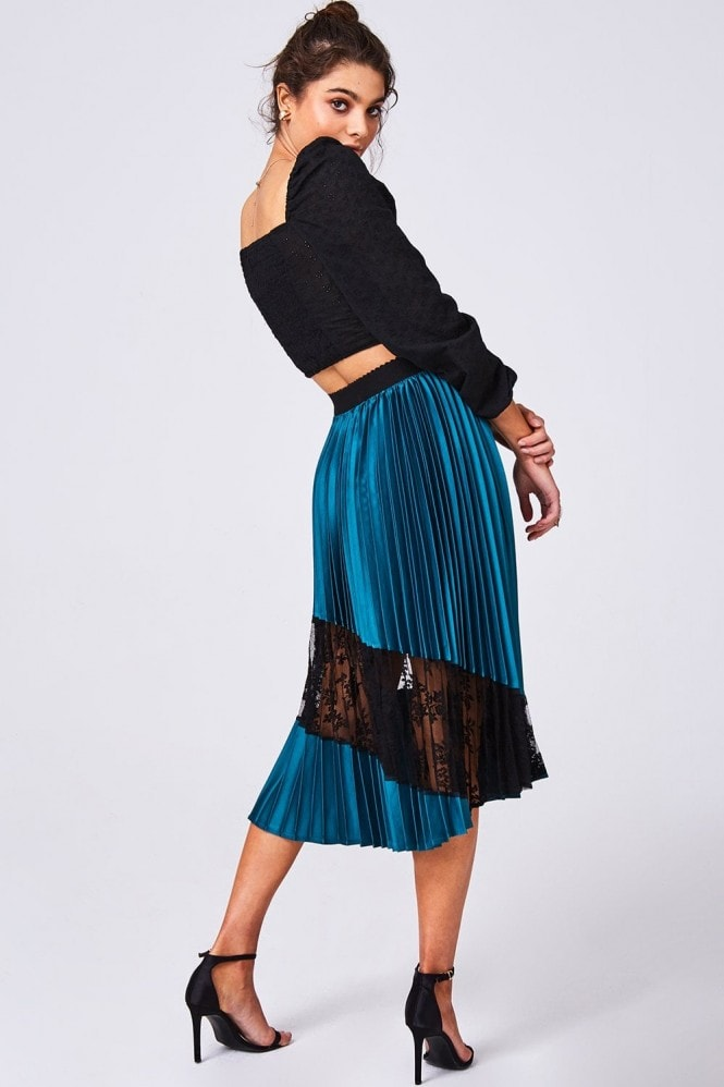 Girls on Film Freyja Green Pleated Lace Midi Skirt