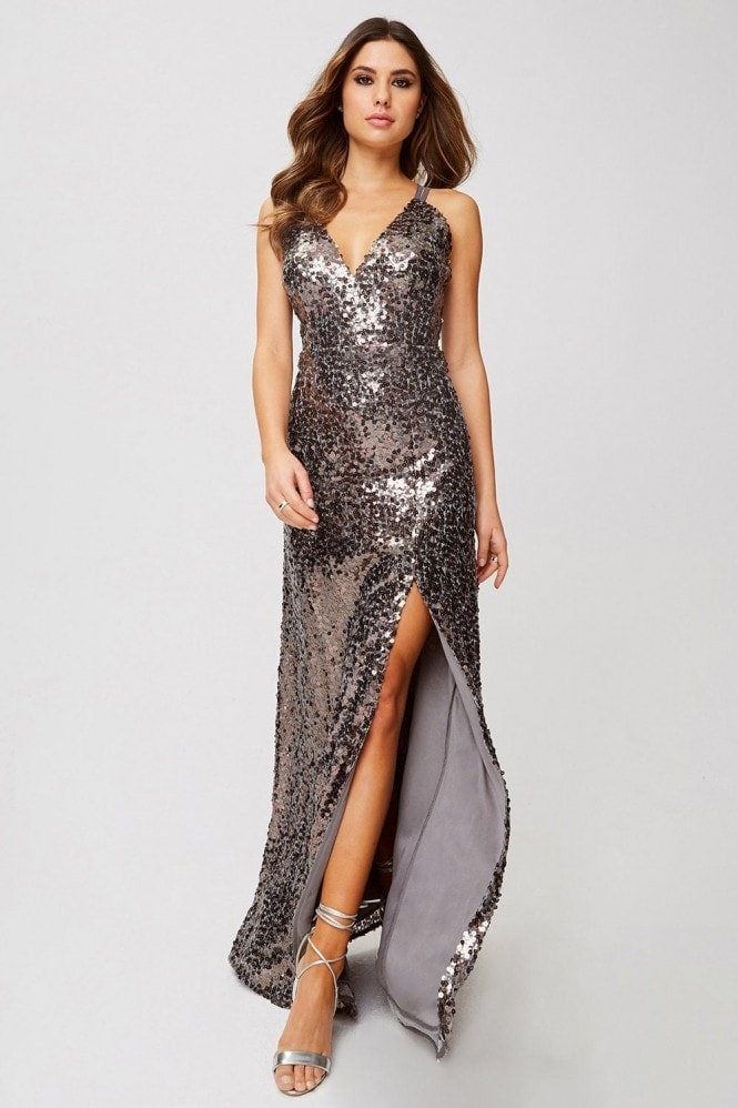 Little Mistress Tibi Copper Sequin Maxi Dress