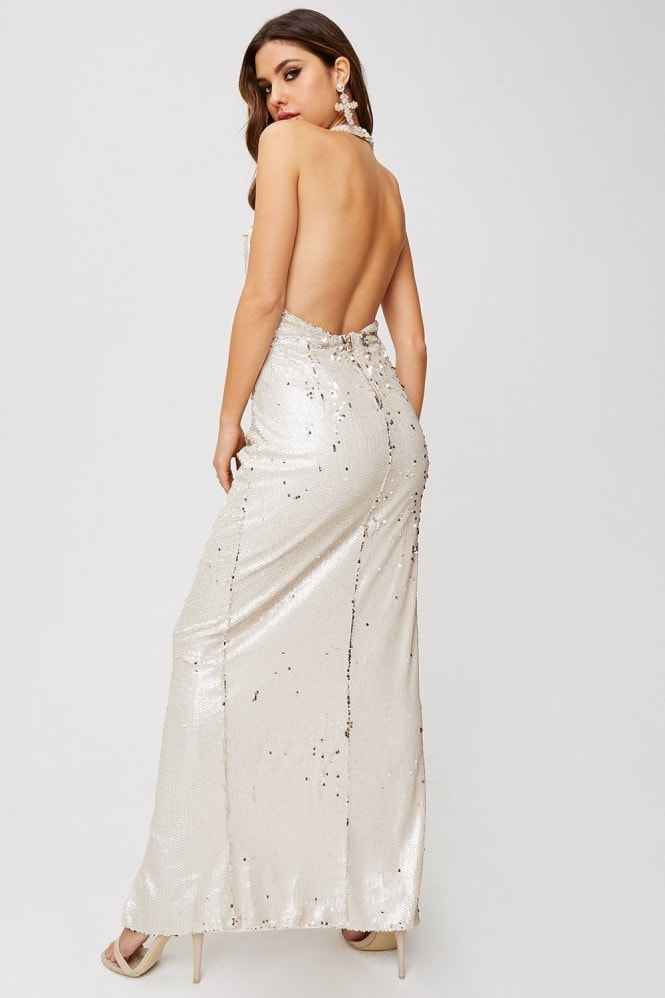 Little Mistress Leila Cream And Gold Sequin Plunge Halterneck Maxi Dress