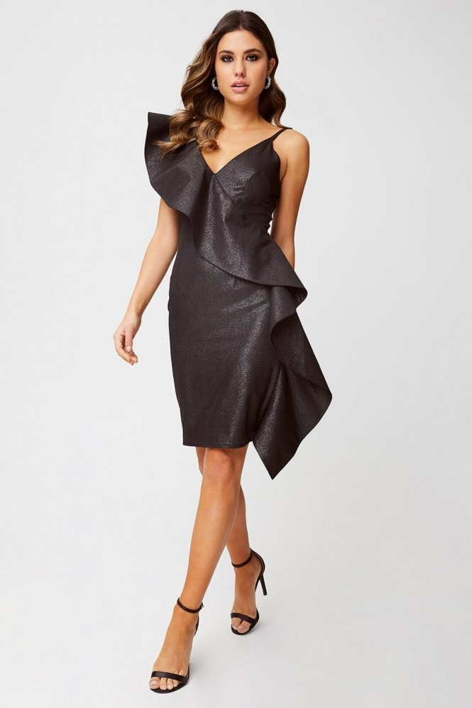 Little Mistress Loki Black Lurex Ruffle Bodycon Dress