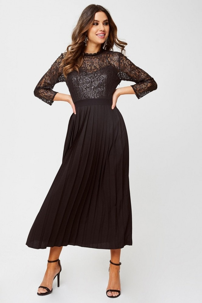 Little Mistress Amelia Black Foiled Lace Midaxi Dress