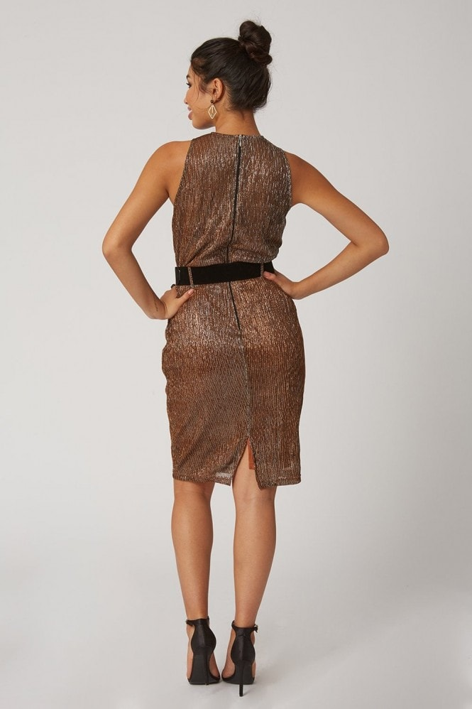 Paper Dolls Lumen Copper Lurex Crossover Neck Belted Dress