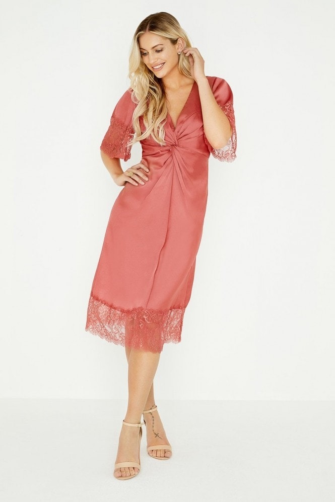 Little Mistress Kathy Terracotta Satin Midi Dress With Lace