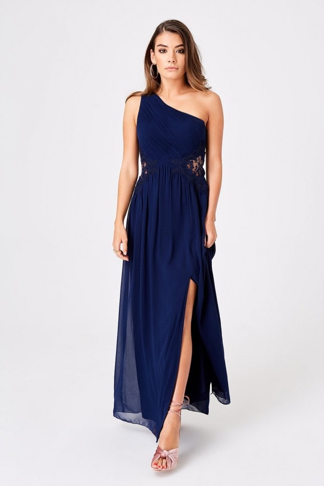 Little Mistress Nadja Navy One Shoulder Maxi Dress With Lace