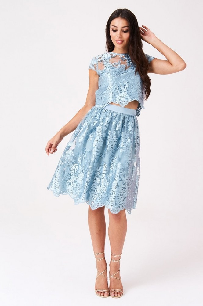 Little Mistress Clarita Blue Embroidery Midi Skirt