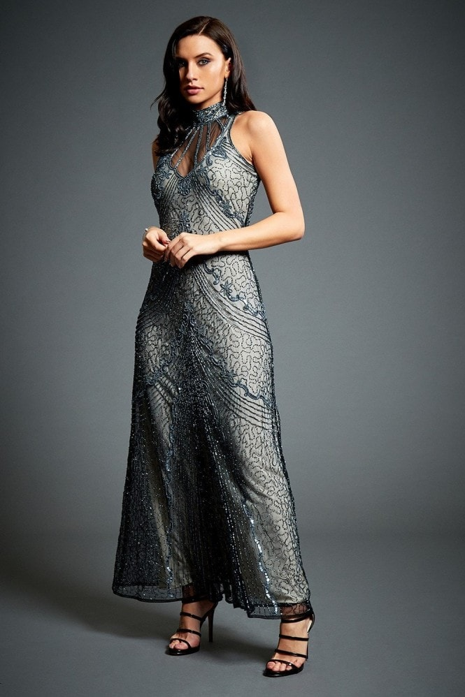 Jywal London Susan Grey Embellished Evening Maxi Dress