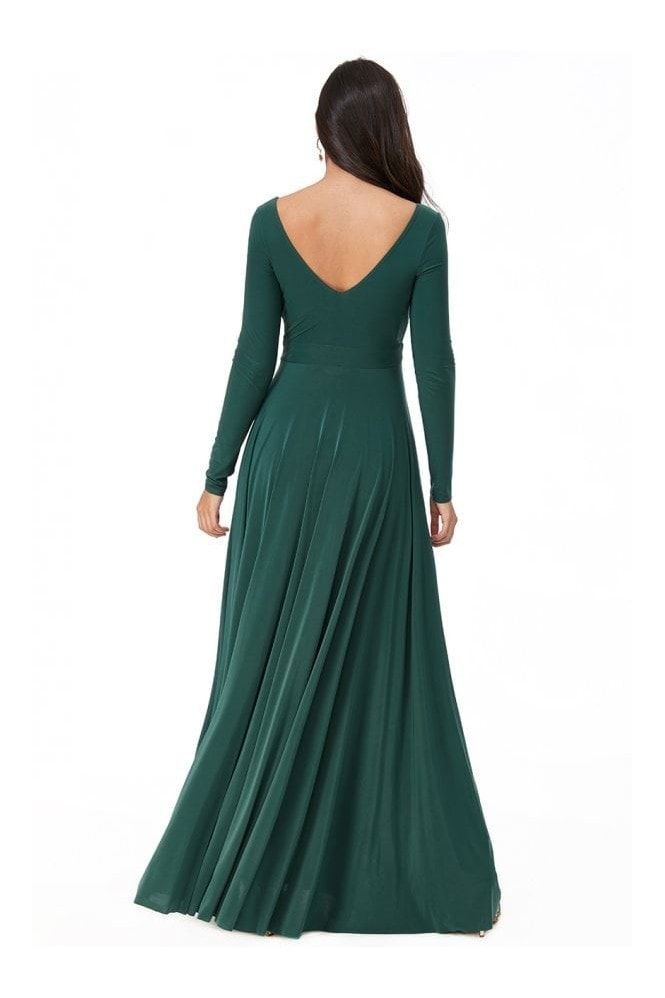 Goddiva Plunge Neck Pleated Maxi Dress