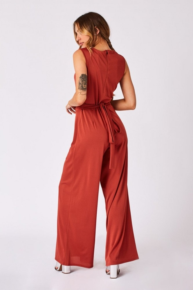 Girls on Film Clarion Rust Cowl-Neck Wide-Leg Jumpsuit