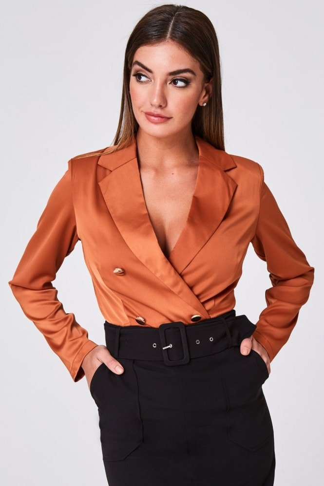 Paper Dolls Amaya Terracotta Double-Breasted Tuxedo Bodysuit