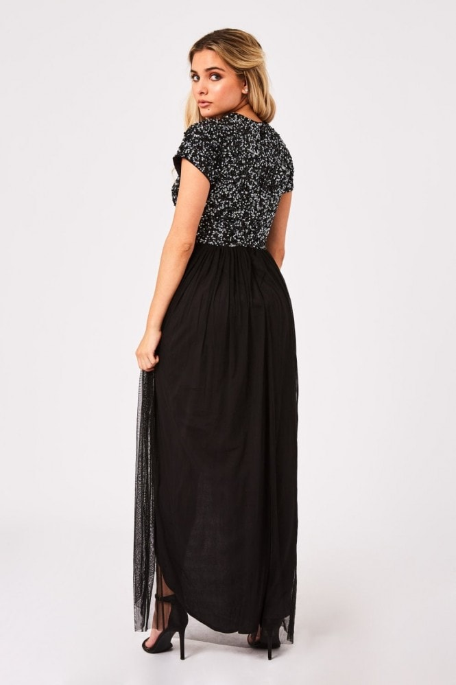 Little Mistress Elise Black Hand-Embellished Sequin Hi-Low Prom Dress
