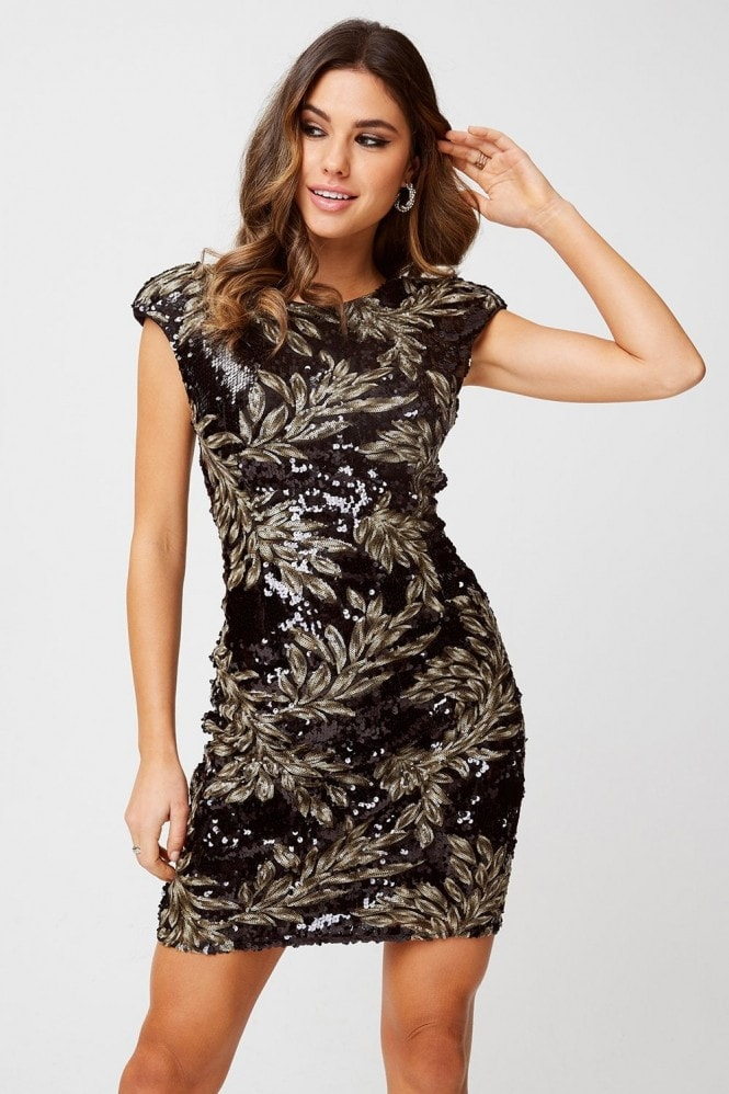 Little Mistress Alfre Black Baroque Sequin Bodycon Dress