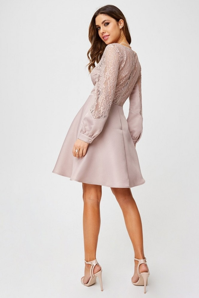Little Mistress Sammie Mink Foiled Lace Skater Dress