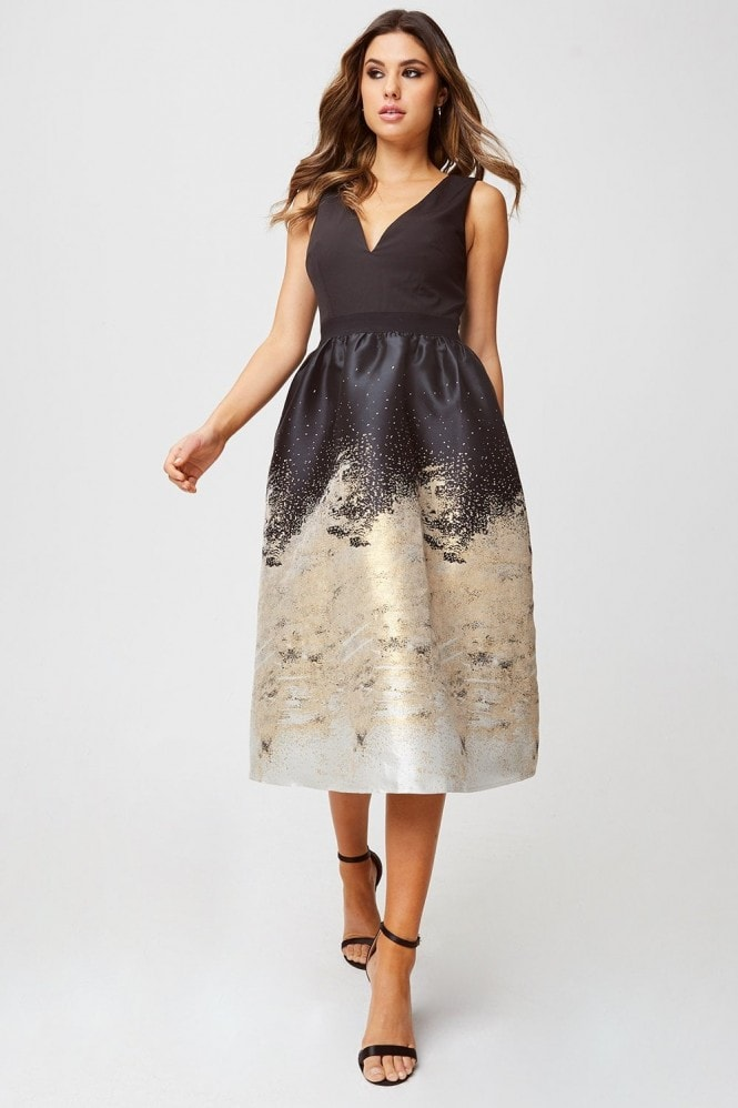 Little Mistress Lisa Black And Gold Jacquard Fit And Flare Midi Dress