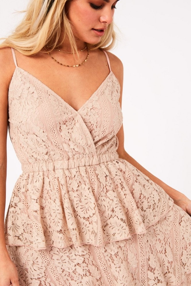 Girls on Film Mesmerize Champagne Tiered-Lace Midi Dress