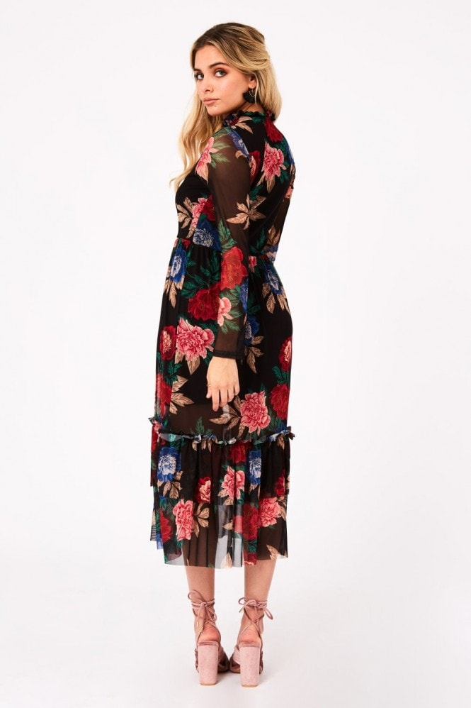 Girls on Film Fleetwood Floral-Print Mesh Midi Dress