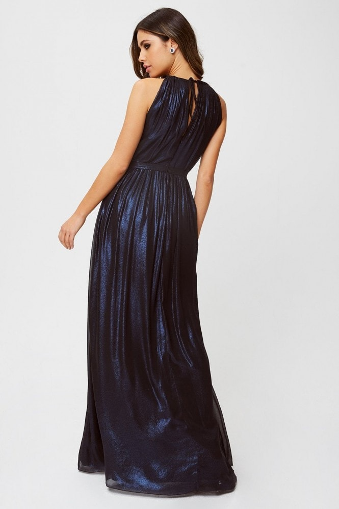 Little Mistress Mirrie Navy Metallic Foiled Halterneck Maxi Dress