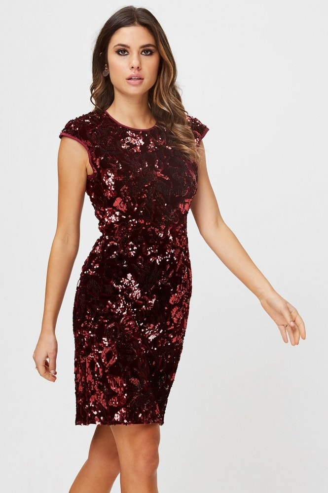 Little Mistress Alfre Red Velvet Sequin Bodycon Dress