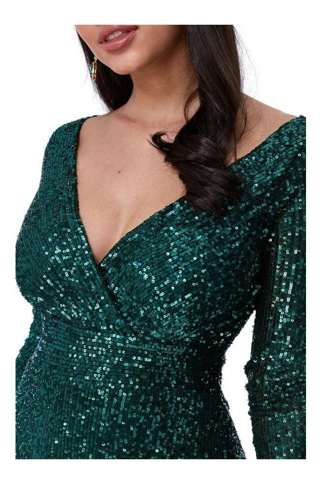 Goddiva Sequin Stripe Maxi Dress with long sleeves - Emerald