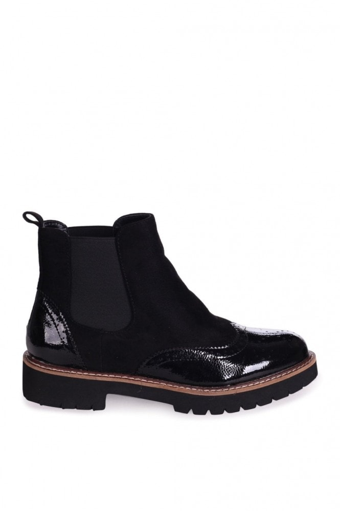 Linzi CLEO - Black Patent & Suede Brogue Style Chelsea Boot