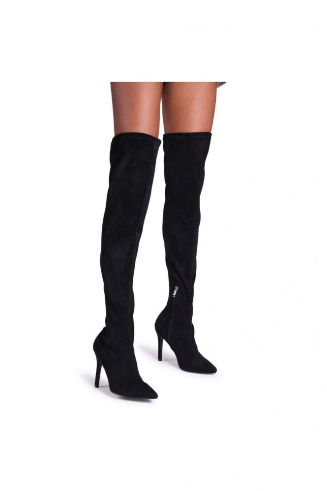 Linzi CELINE - Black Suede Pointed Stiletto Heeled Over The Knee Boot