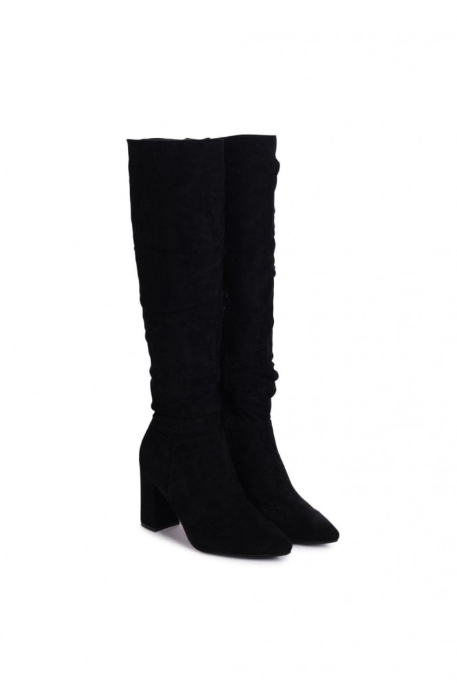Linzi BONNIE - Black Suede Block Heel Knee High Ruched Boot With Pointed Toe