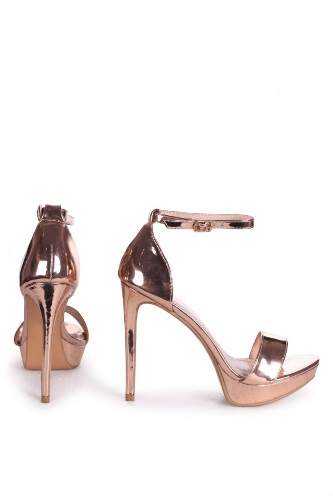 Linzi SOPHIA - Rose Gold Mirror Barely There Stiletto Platform Heels