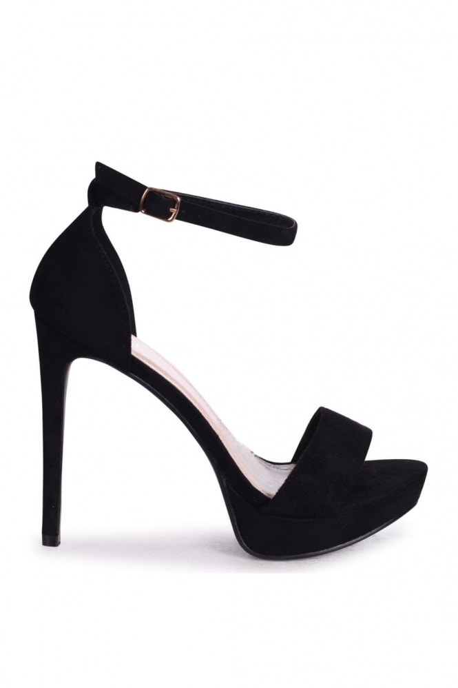 Linzi SOPHIA - Black Suede Barely There Stiletto Platform Heels