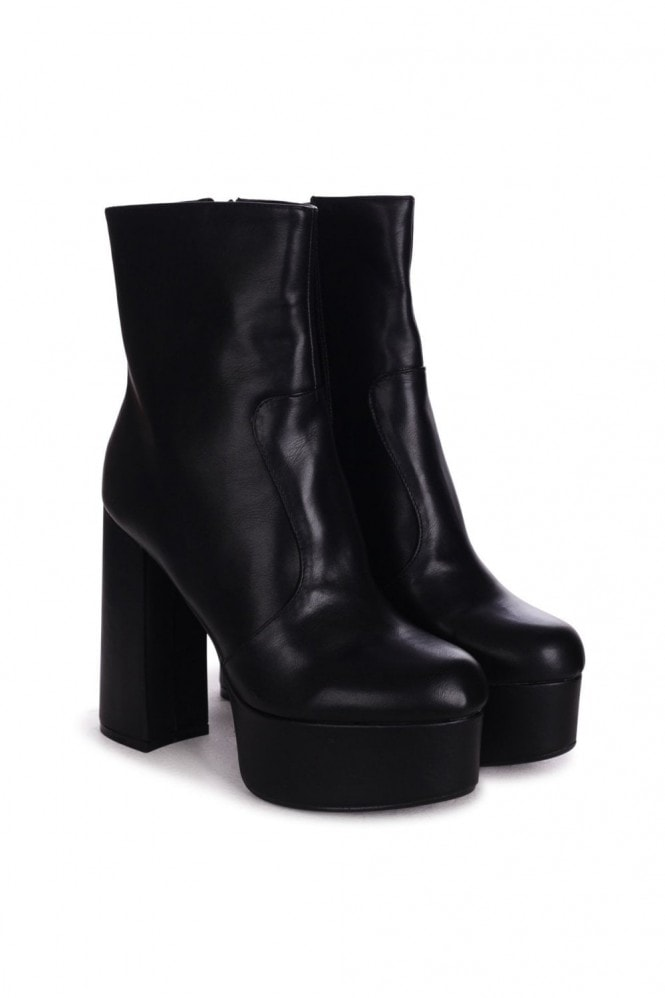 Linzi AXELLE - Black Nappa Extreme Chunky Platform Block Heeled Ankle Boots