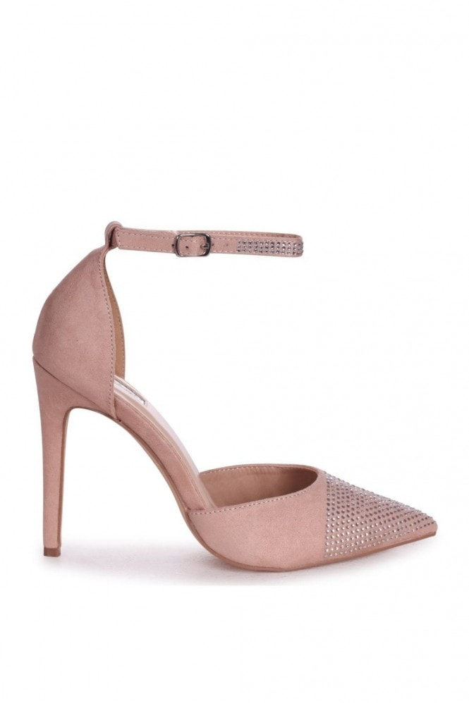 Linzi DOVE - Nude Suede Court Heel With Diamante Front & Ankle Strap
