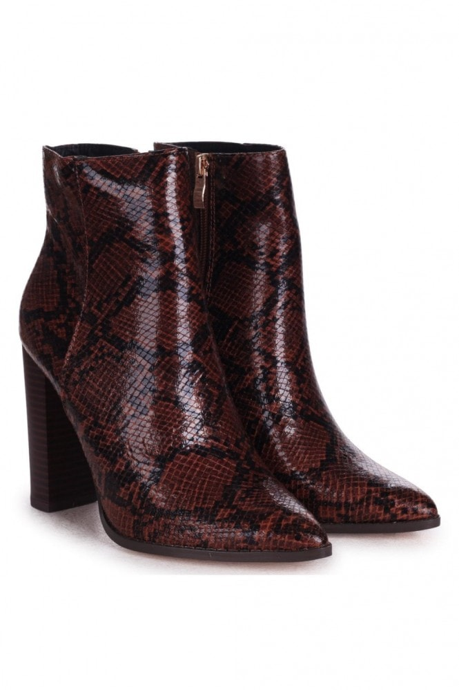 Linzi LUCY - Brown Snake Nappa Ankle Boot With Stacked Block Heel
