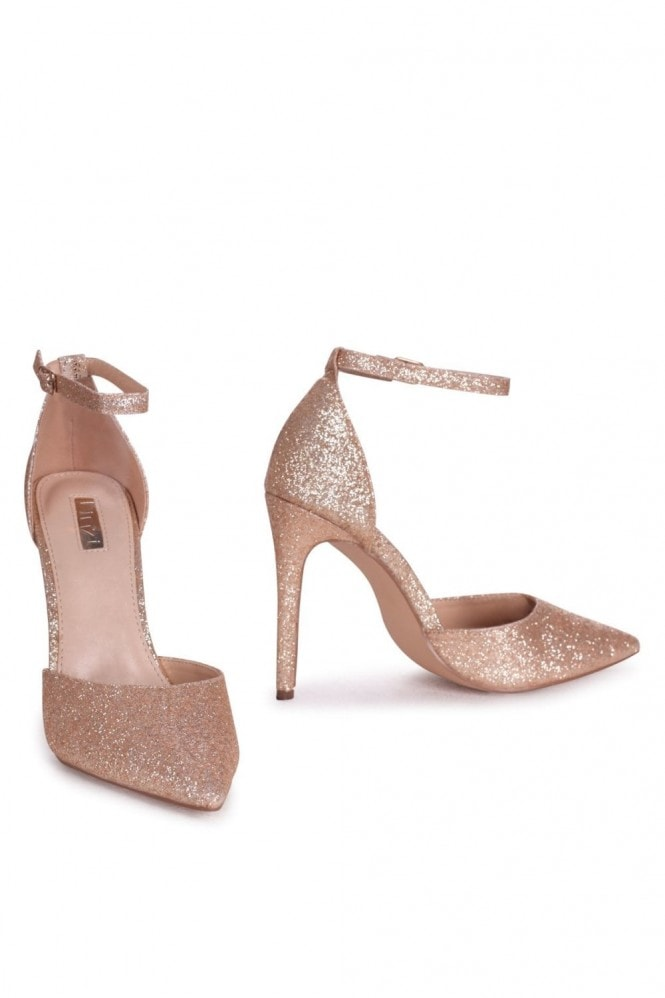 Linzi WHITNEY - Gold Glitter Court Heel With Ankle Strap