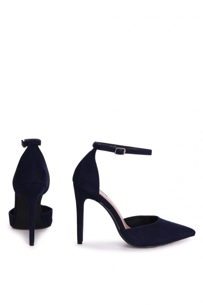Linzi WHITNEY - Navy Suede Court Heel With Ankle Strap