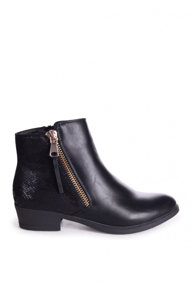 Linzi ARABELLA - Black Nappa Ankle Boot With Snake Back Detail & Gold Outer Zip
