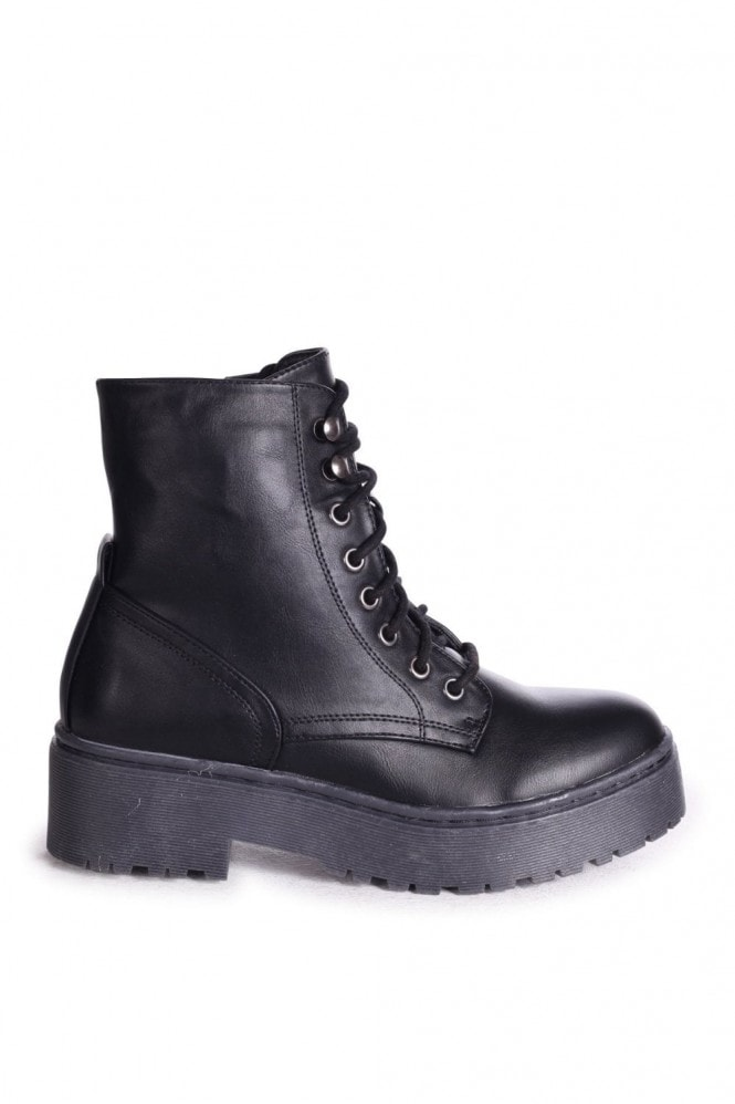 Linzi DESIRE - Black Nappa Military Style Lace Up Boot With Chunky Black Rubber Sole