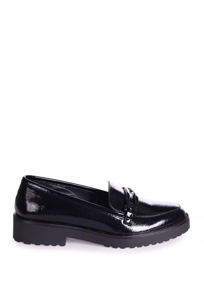 Linzi LOLITA - Black Wrinkle Patent Chunky Loafer With Front Chain Detail