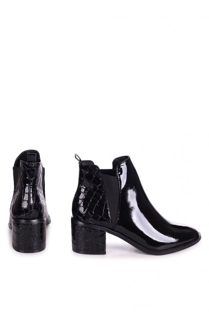 Linzi DONNA - Black Patent & Croc Pull On Block Heeled Ankle Boot