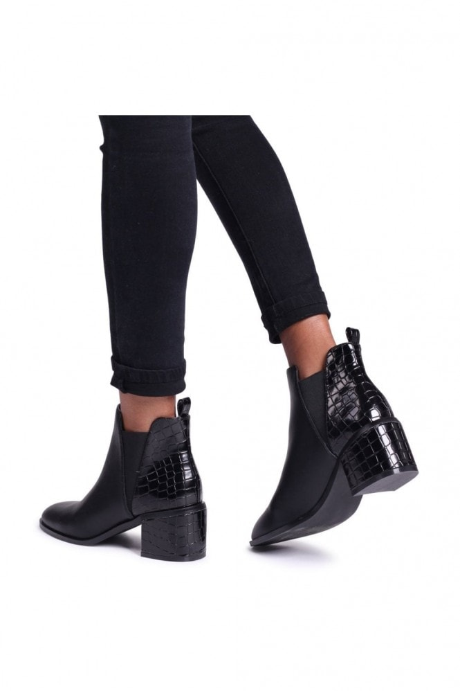 Linzi DONNA - Black Nappa & Shiny Croc Pull On Block Heeled Ankle Boot