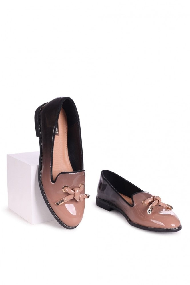 Linzi CLARICE - Mocha & Black Ombre Patent Loafer With Front Knot Detail And Studded Trim