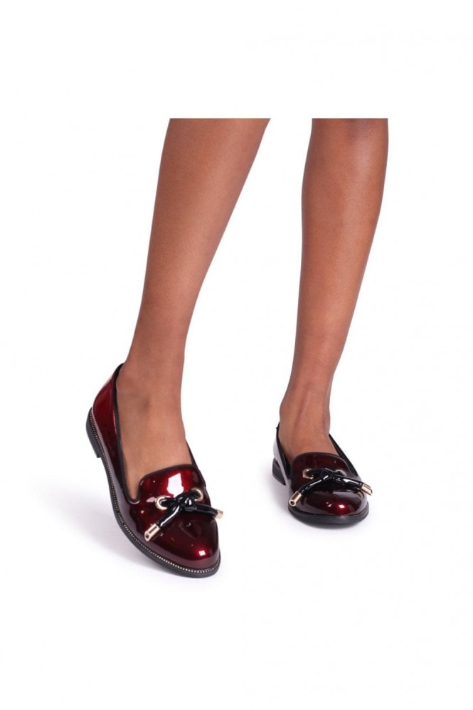 Linzi CLARICE - Red & Black Ombre Patent Loafer With Front Knot Detail And Studded Trim