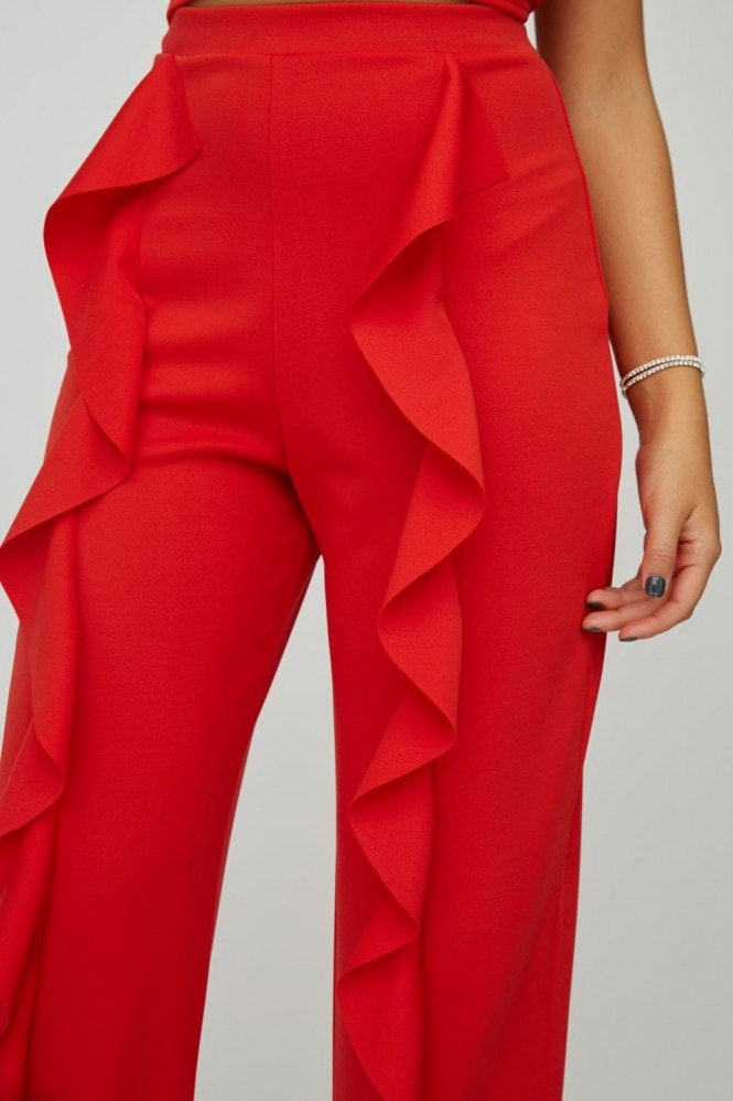 Little Mistress x Zara McDermott Red Frill Trousers Co-ord